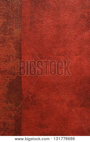 ROUGH WEATHERED WALL, RED PAINT, CLOSEUP BACKGROUND