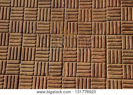 Horizontal and vertical striped pattern of antiskid flooring tiles