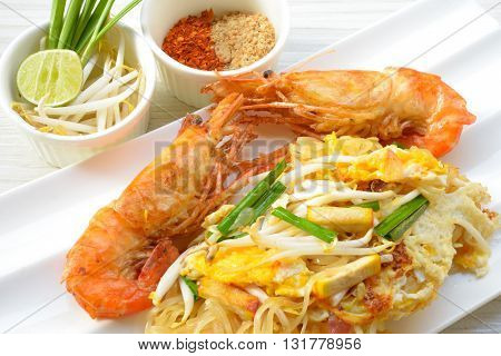 Thai food Pad thai , noodles with shrimp