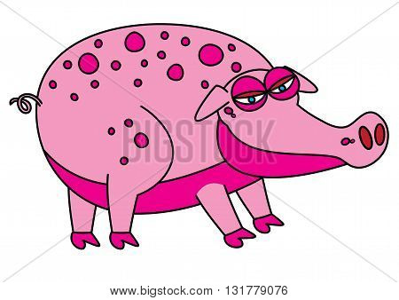 pink fat pig for bacon vector illustration