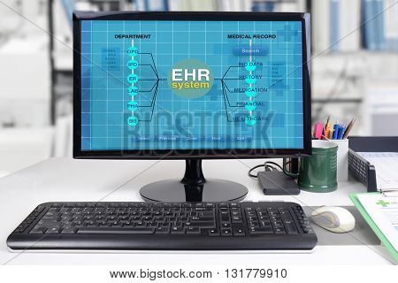 EHR or electronic health record system for hospital management show on computer monitor in office.