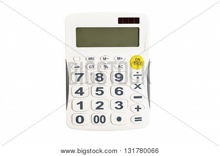 Isolated calculator object - top view of calculator on white background