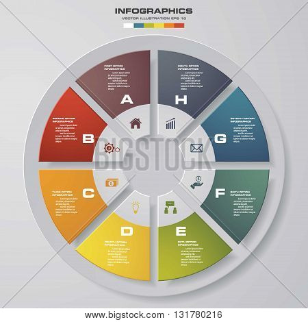 8 steps vector circle for infographic. Template for diagram. EPS10