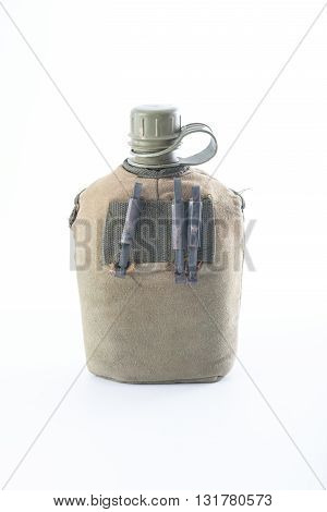 Military green canteen on isolate white background