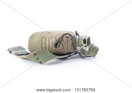 Military canteen and army belt on white background