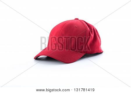 Grunge Red baseball cap isolated on white background