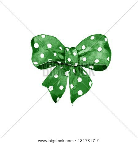 Watercolor satin green bow polka dot on white background