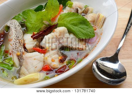 tom yum soup ,Thai style Spicy soup with fish