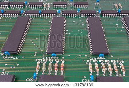 the Closeup of new electronic circuit board