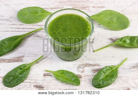 Fresh green nutritious cocktail from spinach on old rustic wooden background healthy nutrition