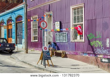 Valparaiso, Chile - November 01 2014: Street In The Center Of Valparaiso, Chile