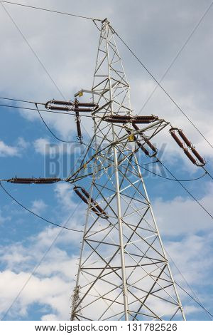 High voltage electric pole with wires line of electricity transmissions technology