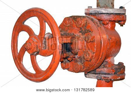 the old metal pipe with valve on a white background