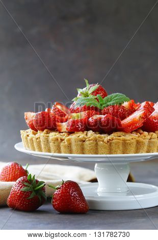 pie shortcake dough with fresh berries strawberries