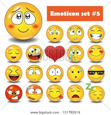 Cute vector emotional face icons. Smile emoticons set.