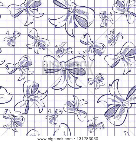 illustration of the seamless background with bow on a notebook paper.