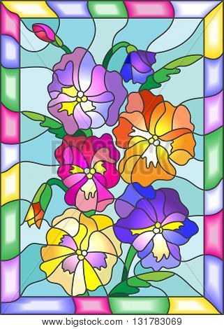 Illustration in stained glass style with flowers buds and leaves of pansy