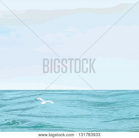 Seascape with wavy sea surfacecloudy sky flying seagull