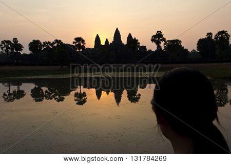Lady Gazing At Angkor Wat