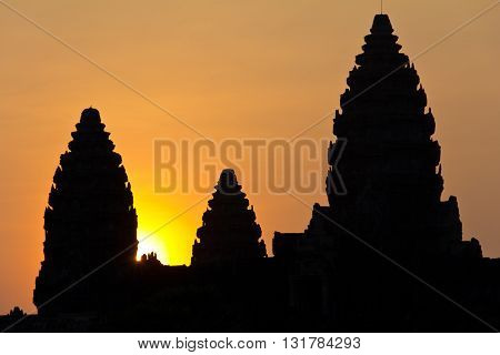 Sun Peaking Out From Angkor Wat