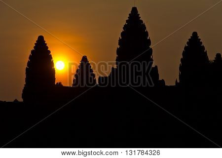 Dawn at Angkor Wat temple ruins Cambodia