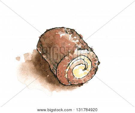 Cream stuffed Hokkaido chocolate roll watercolor illustration