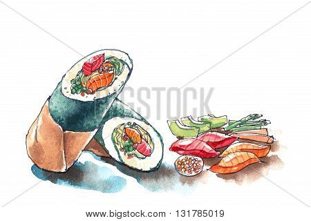 Sushi Burrito, Japanese And Mexican Food Fushion, Trendy Food Watercolor Illustration