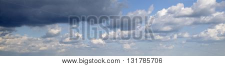 Stormy heavy clouds flying in blue sky rainy weather panoramic view