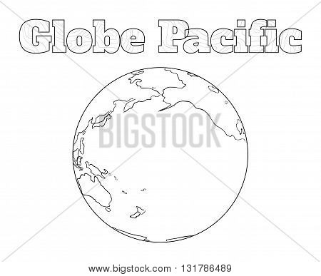 Hand-drawn globe of the world view over the Pacific isolated on white