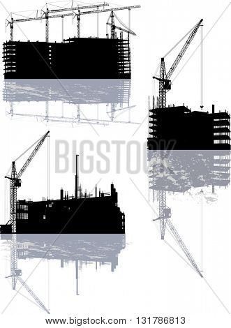illustration with house buildings and cranes with reflection