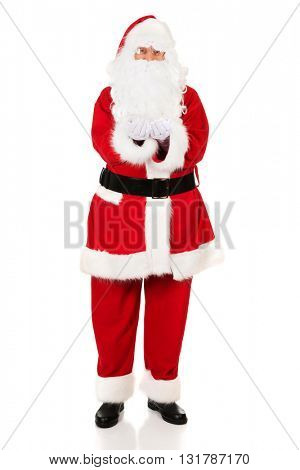 Full length Santa Claus with open hands