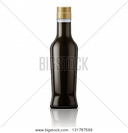 Glass bottle with soy sauce. Packaging collection.