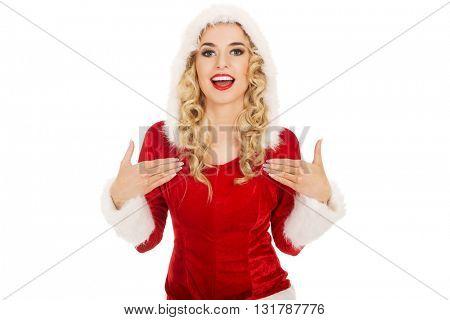 Young beautiful happy santa woman