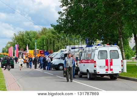 GOMEL BELARUS - MAY 19 2016: Ambulance crews are on duty at the XVII International exhibition