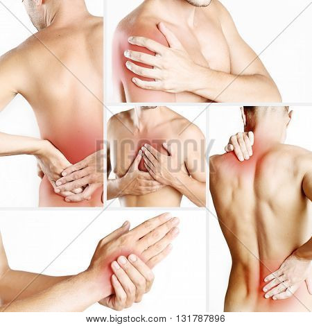 Collage representing young man with pain at different body parts