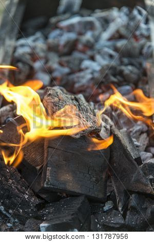 close up of fire burning coals background