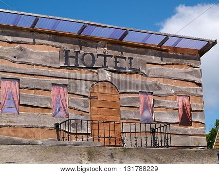 Old traditional American western Wild West hotel wooden house
