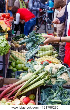 The woman chooses a sprouts in a market