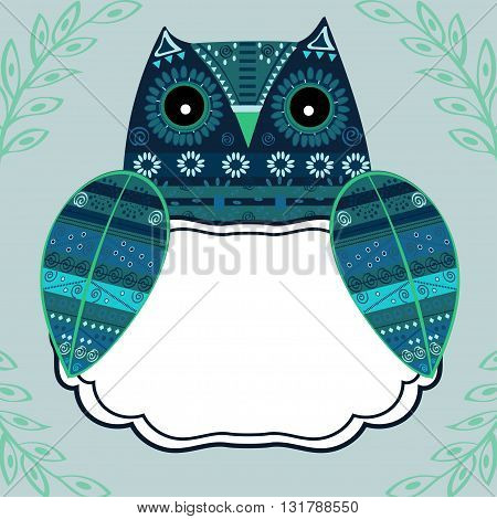 Cute owl with ethnic ornament text box. Animal bird symbol of wisdom. Funny owl. Vector owl. Bird of prey owl.