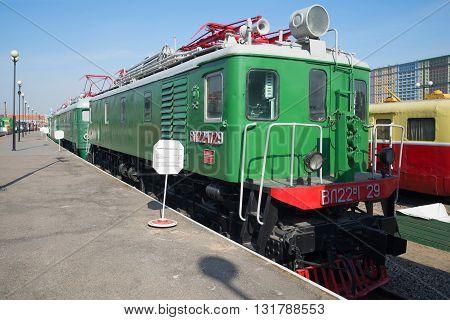 SAINT-PETERSBURG, RUSSIA - MARCH 30, 2016: Old electric locomotive VL22m on the railway in St. Petersburg. Historical landmark