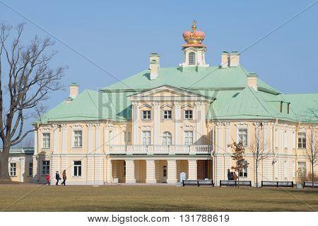 ORANIENBAUM, RUSSIA - MARCH 27, 2016: Grand Menshikov Palace, sunny march afternoon. Historical landmark of the city Oranienbaum