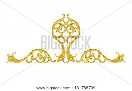 Pattern of gold metal frame carve flower on white background