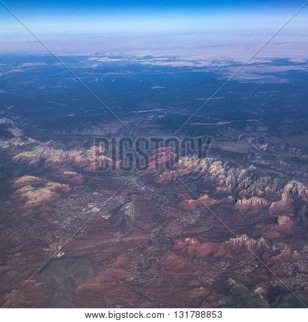 Aerial view of the red rocks of Sedona, Arizona