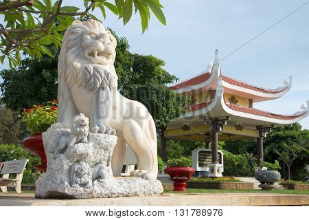 VUNG TAU, VIETNAM - DECEMBER 21, 2015: Lion sculpture at the entrance to a pantheon of Ho Chi Minh. Historical landmark of the city Vung Tau