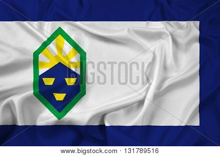 Waving Flag of Colorado Springs Colorado, with beautiful satin background