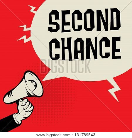 Megaphone Hand business concept with text Second Chance, vector illustration