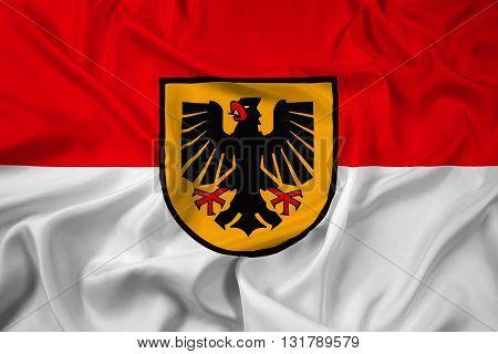 Waving Flag of Dortmund, with beautiful satin background