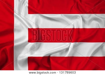 Waving Flag of Eindhoven, with beautiful satin background