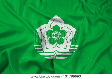 Waving Flag of Harbin China, with beautiful satin background