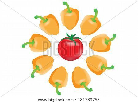 Set of sweet pepper and red tomato